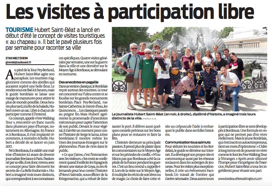 Article in Sud-Ouest Free tours Bordeaux